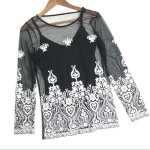 INC Sheer Black Embroidered Top Size Small